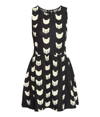 H&M cat print jersey dress