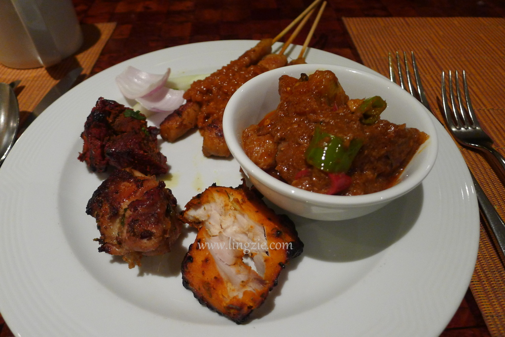 Laal Maans (Signature lamb dish from Rajasthan) together with some tandoori meats & satay